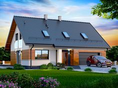 Wizualizacja DN DARLENA (garaż dwustanowiskowy) CE Facade House, Design Case, Little Houses, Modern Farmhouse, Townhouse, Building A House, Architecture Design, House Plans, New Homes