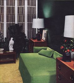 1951 Guest Room / Office by American Vintage Home. I like the way this looks, and I already have an eagle statue! PERFECT! ha ha.