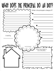 "What Does the Principal Do All Day Poster Activity: A great common core aligned ""copy and go"" activity for the end of the year or to leave for the sub! It's so fun to find out what your students think a principal really does all day. Two pages (with and without lines) are included. Sample directions included as well that could be projected on a smart board or placed under a document camera. A fun way to practice using your Common Core Informative/Explanatory writing skills."