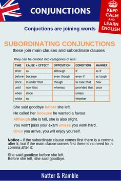 Aug 2019 - Conjunctions are joining words used to make more complex language structures. Conjunctions definition and types - coordinating, subordinating, corrective Advanced English Grammar, English Grammar Rules, Teaching English Grammar, English Grammar Worksheets, English Writing Skills, English Verbs, Grammar Lessons, English Language Learning, English Lessons