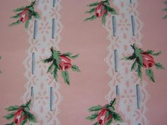 Vintage Wallpaper c1940s PINK and RED tea roses blue by FSBstudio, $17.99