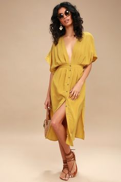 266d312acd1 Poppy Mustard Yellow Button-Up Midi Dress