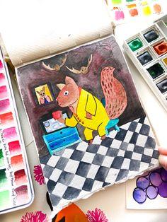 Watercolor painting in my khadi sketchbook! Ruby Red, Watercolour Painting, Squirrel, Kids Rugs, Paper, Kid Friendly Rugs, Squirrels, Nursery Rugs, Red Squirrel