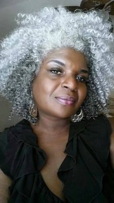 Lovely natural silver gray hair....