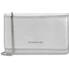 Givenchy Pandora Silver Leather Cross-body Bag ($1,075) ❤ liked on Polyvore featuring bags, handbags, shoulder bags, leather crossbody handbags, crossbody handbag, leather crossbody, chain shoulder bag and crossbody purse