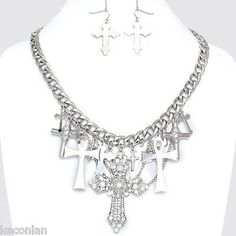 Brighton Bay Jewelry Silver Tone Cross Charms Statement Necklace & Earrings Set