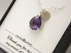 Purple Necklace Purple Bridesmaid Necklace Sterling by MleBridal
