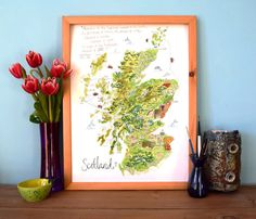 Scotland Map Illustration, Giclee print, A3, Art Print, Bonny Scotland, Robert Burns