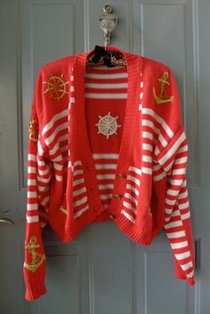 vintage red white nautical striped anchor embroidered by stylebook