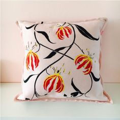 For sale @worldofwouda #felt #cushion #handpainted #flowers by snijder&co