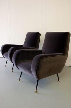 Pair 1950s Italian armchairs reupholstered in Designers Guild 'Varese' slate velvet. SOLD. #Italian #midcentury #armchairs #velvet #Designers_Guild