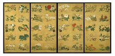 Hanamaruzu (Fleurs) Itō Jakuchū (1716-1800) Epoque d'Edo (1615-1867) 1764 Couleurs et particules d'or sur papier Quatre portes coulissantes, paroi sud du Jōdan no ma, Oku-shoin Chaque panneau : H. 177,5 cm ; l. 91 cm Sanctuaire de Konpira, île de Shikoku, Japon © Keiichi Kawamura/ KOTOHIRA-GU