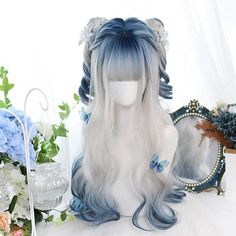 Dalao Home Gradual Color Lolita Wigs Pelo Lolita, Lolita Hair, Kawaii Hairstyles, Pretty Hairstyles, Cute Hairstyles, Anime Wigs, Anime Hair, Cosplay Hair, Cosplay Wigs