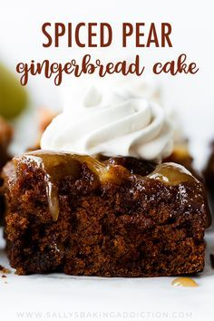 This boldly spiced upside-down pear gingerbread cake combines the best holiday spices with juicy pears, brown sugar caramel sauce, and cool whipped cream. Pear Dessert Recipes, Holiday Baking, Christmas Desserts, Christmas Baking, Just Desserts, Delicious Desserts, Cake Recipes, Sweet Recipes, Pear Recipes