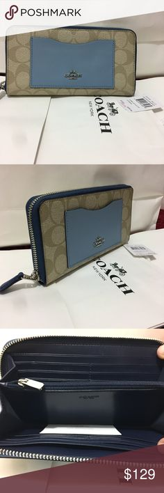 Coach Women Wallet signature Zip Accordion khaki New with tag 100% Authantic Wallet women Coach Bags Wallets