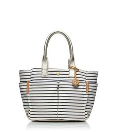 "Nautical: This striped tote screams ""Island getaway."""