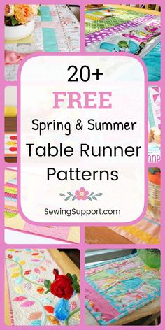 Table Runner Patterns to sew. Free Spring & Summer Table Runner Patterns, tutorials, and diy sewing projects. Simple and easy runners to sew, plus ideas for quilted designs. Instructions for how to make table runners. Patchwork Table Runner, Table Runner And Placemats, Table Runner Pattern, Quilted Table Runners, Diy Sewing Projects, Sewing Projects For Beginners, Sewing Hacks, Sewing Tutorials, Sewing Tips