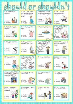 should or shouldn´t - ESL worksheet by sweetdreamja School Worksheets, Grammar Worksheets, Worksheets For Kids, English Class, English Lessons, Learn English, Esl Writing Activities, English Activities, Tenses English