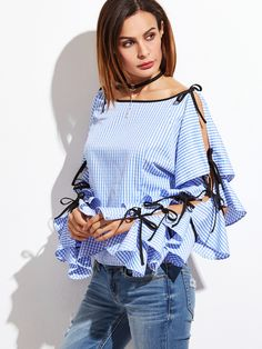 Online shopping for Blue Striped Bow Tie Split Ruffle Sleeve Blouse from a great selection of women's fashion clothing & more at MakeMeChic.COM.