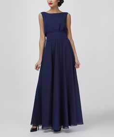Another great find on #zulily! Dark Blue Plunge-Back Maxi Dress by Adelin Fostayn #zulilyfinds
