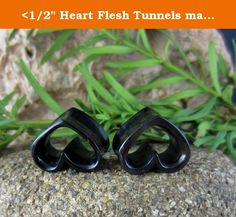 """<1/2"""" Heart Flesh Tunnels made from Bull Horn, Hand Carved Gauged Earrings Pair, Ear Plug Love Piercings - Tribal Body Jewelry. Intricately hand-carved, real gauge earrings from Bull Horn. Piercings for stretched ears. Make these beautiful, one of a kind gauges your today! Size: 12MM - <1/2""""."""