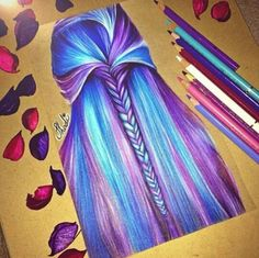 A how to draw hair, colorful drawings, beautiful drawings, amazing drawings, cool Cool Art Drawings, Pencil Art Drawings, Realistic Drawings, Beautiful Drawings, Colorful Drawings, Art Drawings Sketches, Amazing Drawings, Hair Sketch, Color Pencil Art