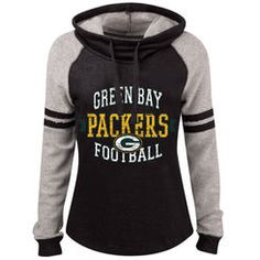 Women's Green Bay Packers 5th & Ocean by New Era Black Long Loop French Terry Cowl Neck Pullover Hoodie