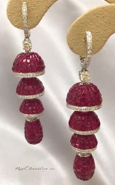 Ruby with diamonds earrings。誠記 Real Jewellery co.