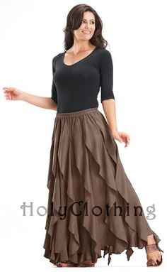 Pinner says: Gypsy skirt  This could be made with a solid color upcycled skirt (or make one with upcycled fabric) and cut the body of tshirts into long, wide strips to open into long ruffles. Sew onto skirt.  GOTTA TRY THIS ONE..
