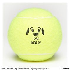 Shop Cute Cartoon Dog Face Custom Name Personalized Tennis Balls created by AugieDoggyStore. Cartoon Dog, Cute Cartoon, Dog Face Drawing, Tennis Party, Cute Sketches, Animal Skulls, Pet Gifts, Sports Equipment, Dog Photos