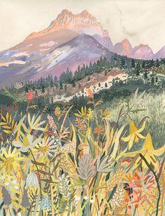 Landscape painting by Michelle Morin Gouache Painting, Painting & Drawing, Acrylic Paintings, Landscape Art, Landscape Paintings, Landscapes, Painting Inspiration, Art Inspo, Art And Illustration