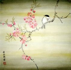 peach blossoms and bird