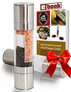 Lifestyle Dynamics Stainless Steel Salt and Pepper Grinder Set with Recipe eBook and Guide - Brushed Steel