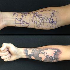World Map Tattoo – tattoo sleeve men Compass Tattoos Arm, Forarm Tattoos, Cool Forearm Tattoos, Cool Tattoos, Tattoo Sleeve Designs, Tattoo Designs Men, Globus Tattoos, Karten Tattoos, Elk Tattoo