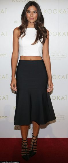 Taut and terrific! Home And Away actress and mother-of-two Pia Miller showed off her toned mid-section in monochrome ensemble at Kookai Autumn/Winter collection launch in Melbourne on Wednesday