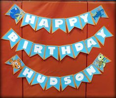 Finding Dory Nemo Birthday Party Banner boy- used images from Cricut Best of Pixar Cartridge and Findet Nemo Font Kids Birthday Themes, 1st Boy Birthday, 3rd Birthday Parties, Twins 1st Birthdays, Party Ideas, Finding Dory, Nikko, Banners, Crafts