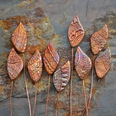 Handmade Copper Tapestry Leaf Headpins, or copy look with FImo clay and glaze copper.  Could imprint with anything to make jewelry or a swap