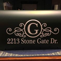Mailbox decal with personalized monogram and address numbers