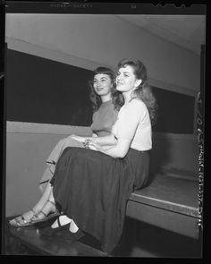 jackie knight and jo glenn at lincoln heights jail after being booked on morals charges in los angeles, ca (1948)