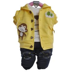 Clearance Promotion, 10 Models, Baby Boys Bear Model Autumn and Spring Set, Baby Boys Jacket+ Shirt + Jeans $33.00