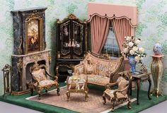 Good Sam Showcase of Miniatures: Dealer Bluette Meloney - Structures & Hand-painted Furniture Miniature Rooms, Miniature Crafts, Miniature Christmas, Miniature Houses, Miniature Furniture, Dollhouse Furniture, Mini Sala, Victorian Dollhouse, Victorian House