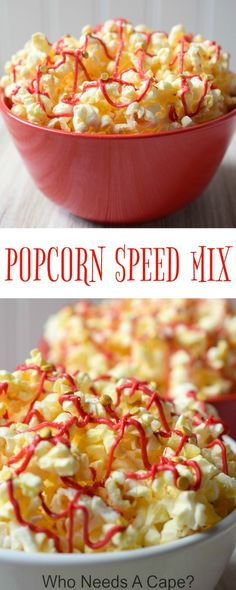 Transform a regular bowl of popcorn into Popcorn Speed Mix. Your family will love this easy movie inspired snack, it is delicious and fun to make! #orvillepopcornjusticesweepstakes