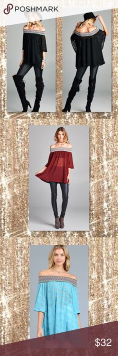 JUST IN🆕 KHAKI Burnout Off Shoulder Tunic Boho New 4 Color Choices, Loose fit, loose sleeve, off the shoulder top with multi colored stretch trim detail. This top is made with a sheer , burn out, knit fabric, has good stretch and drapes nicely. Color: Burgundy, navy, turquoise and Khaki Material: 96% Polyester, 4% Spandex Made in USA  Sizes Avail: Small, Medium, Large   ⭐️⭐️SORRY NO TRADES AND LOWBALL OFFERS WILL BE IGNORED ⭐️⭐️  ✂️LOWBALL OFFERS WILL BE IGNORED✂️ Glam Squad 2 You Tops