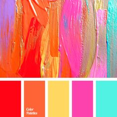 The palette is a mix of cold and warm hues. With a help of these colors you can make an original design in the interior of a living room or bedroom. If you take warm colors as a base: yellow and orange, than the magenta, fuchsia or blue should be used as Colour Pallette, Colour Schemes, Color Patterns, Color Combos, Bright Colour Palette, Yellow Color Palettes, Summer Color Palettes, Pantone Colour Palettes, Colour Board