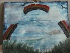 Landscape with rainbow in the sky encaustic wax art painting for sale on Etsy.