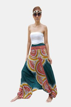Thai Harem Pants Women Jumpsuit Floral Feather Haze Green