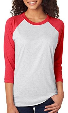 Next Level Apparel 6051 Unisex Tri-Blend 3 By 4 Sleeve Raglan - Vintage Red & Heather White - http://our-shopping-store.com/apparel-and-accessories.asp