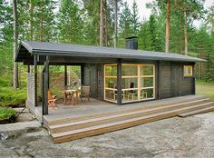 - Not a container house, but prefab. Sunhouse Modern Prefab Homes. Designer: Kalle Oikkari, architect Living area: Floor area: Dimensions: m x m Modern Tiny House, Tiny House Living, Tiny House Design, Cheap Tiny House, Design Homes, Tiny House Office, Cheap Houses To Build, Small Modern Cabin, Modern Small House Design