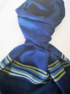 Schal aus 100% Baumwolle, Handgewebt, ökologisch Hergestellt in reiner Handarbeit. Größe:180x32 cm. Indigo, Accessories, Fashion, Blue Yellow, Weaving, Handarbeit, Cotton, Moda, Indigo Dye