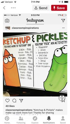 "Classroom Management: Cute ""Ketchup and Pickles"" idea. First Grade Classroom, Classroom Behavior, Future Classroom, School Classroom, Classroom Activities, Classroom Management, Classroom Organization, Classroom Ideas, Behavior Management"